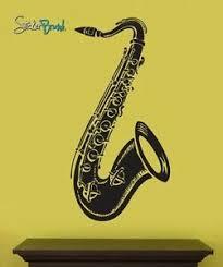 Vinyl Wall Art Decal Sticker Saxophone Instrument 20x41 Ebay