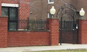 Brick Fence With Gate Lights Picture Interunet