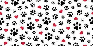 dog paw print love wallpaper mural