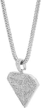 mens silver tone diamond pendant design