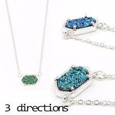 small oval druzy pendant necklace