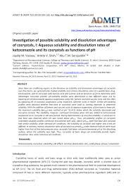 PDF) Investigation of possible solubility and dissolution advantages of  cocrystals, I: Aqueous solubility and dissolution rates of ketoconazole and  its cocrystals as functions of pH