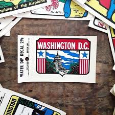 Vintage Washington D C District Of Columbia Water Dip Decal Automobile Window Circa 1960s Whit Printed Plates Washington D Decals Water