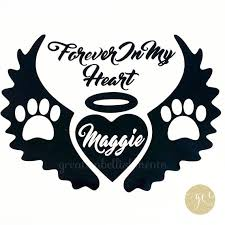 Dog Memorial Decal Paw Angel Wings And Halo Memorial Decal Etsy