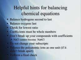 helpful hints for balancing chemical
