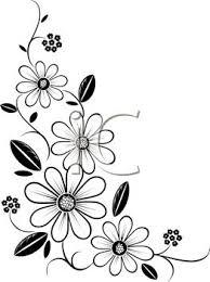 black and white flower design clipart