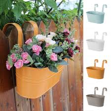 Hanging Basket Trough Garden Fence Balcony Colorful Large Hang Planter Plant Pots Railing Flower Pot Hanging Baskets Flower Pots Planters Aliexpress