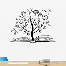 Amazon Com Aderoy Vinyl Peel And Stick Mural Removable Wall Sticker Decals For Room Home Book Tree Decals Library School Decor Reading Room Unique Decal Mural Home Kids Room Decoration Home Kitchen