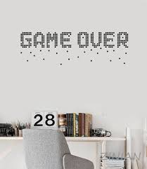 Game Over Pixel Art Decals Mural Video Games Gamer Room Decoration Vinyl Wall Stickers Home Decor Living Room Funny Quotes Cloud Wall Decals Cloud Wall Stickers From Onlinegame 9 95 Dhgate Com