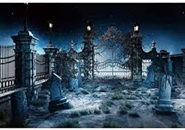 Amazon Com Leowefowa 10x8ft Halloween Themed Photo Backdrop Spooky Cemetery Background Gravestones Graveyard Fence Hollow Out Gate Starry Sky Background Halloween Horror Night Party Decorations Photo Booth Props Camera Photo