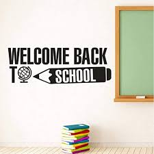 Amazon Com Aderoy Vinyl Mural Decal Art Welcome Back To School Lettering Wall Sticker School Congratulations Banner Vinyl Decals Education Quote Classroom Decor Home Kitchen