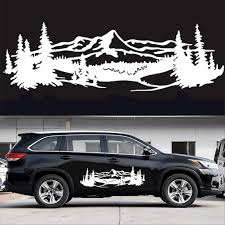 Amazon Com Just N1 1 Pair Car Side Door Sticker Mountain Tree Forest Body Decal Diy Vinyl Graphic Car Styling Decor Universal White Automotive