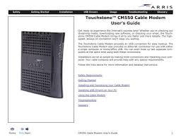 touchstone cable modem cm550 user guide