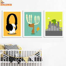 Deer Dinosaur Bird Music Wall Art Canvas Painting Nordic Posters And Prints Animals Pop Art Wall Pictures Baby Kids Room Decor Wall Pictures Printed Canvascanvas Painting Aliexpress