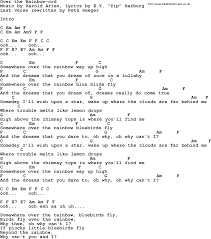 Pete Seeger song - Over the Rainbow, lyrics and chords