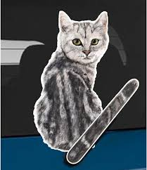 Amazon Com Wagging Wipers Gray Tabby Cat Car Rear Wiper Sticker Decal Automotive