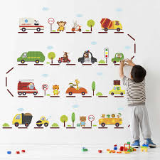 Cartoon Car Highway Wall Stickers For Kids Rooms Kindergarten Children Nursery Room Decoration On The Wall Car Decals Boy S Gift Sticker For Kids Room Wall Stickers For Kidswall Sticker Aliexpress