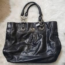 coach bags black leather purse w dust