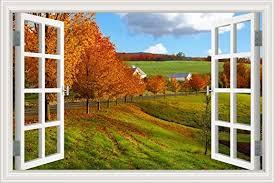 Amazon Com 3d Window Scenery Wall Sticker Autumn Maple Landscape Decal Home Decor Mural Art Wallpaper 32 X48 Baby