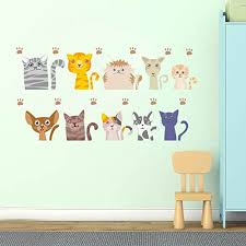 Bibitime 10 Lovely Cats Wall Decal Funny Pussy Cat Vinyl Paws Footprint Stickers For Kids Room Decor Nursery Children Bedroom Border Living Room Study Home Art Murals B075wntmmr