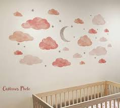 Cloud Moon And Stars Watercolor Fabric Wall Decals Eco Wall Decals