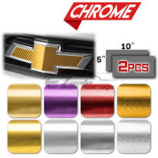 2pcs 5 X10 Chevy Emblem Bowtie Chrome Pattern 4d Gold Carbon Fiber Vinyl Wrap Sticker Decal Film Sheet Walmart Com Walmart Com