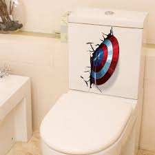 Super Sale 2b900 Disney 3d Vivid Captain America Shield Through Wall Stickers For Toilet Decor The Avengers Wall Decals Art Pvc Mural Posters Cicig Co