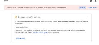 how to fix google adsense ad txt issue