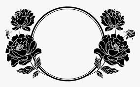 frame design flower clipart black 15