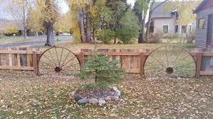 When I Found These Old Wagon Wheels The Idea Clicked For A Decorative Fence In Our Front Yard My Husband Added Backyard Fences Fence Landscaping Fence Paint
