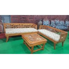 brown designer teak wood sofa set rs