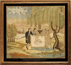 Memorial, sampler, needlework, Huber