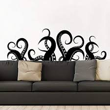Amazon Com Kraken Wall Decal Vinyl Sticker Decals Kraken Octopus Tentacles Fish Deep Sea Scuba Ocean Animals Bathroom Home Decor Bedroom Dorm Zx164 Handmade