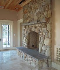nc river rock fireplace w lilac