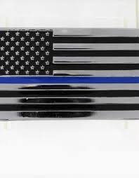 Thin Blue Line Flag Chrome Plated Metal Auto Emblem 2 5 X 4 Stars Stripes The Flag Store
