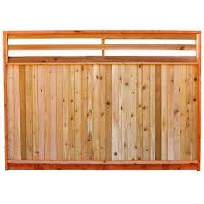 6 Ft X 8 Ft Premium Cedar Venetian Top Fence Panel With Stained Spf Frame Actual Size 68 3 8 In H X 96 In W Cedar Paneling Fence Panels Wood Fence