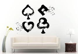 Hand Poker Game Chips Gambling Card Game Casino Wall Decal Vinyl Sticker Mural Room Decor L1078 Vinyl Wall Decals Wall Decor Stickers Wall Decals