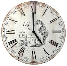 wood nautical wall clock beach style