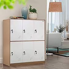 Amazon Com 6 Door Small Bedroom Furniture Metal Locker With Cloth Rail And Shelf Kids Living Room Locker Storage Lockers For Office 6d Kitchen Dining