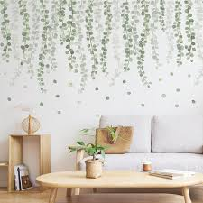 Hanging Tender Branch Dark Green Leaves Vine Wall Decal Natural Plants Wall Stickers Living Room Wall Decor Creative Dropping Leaf Murals Thefuns On Artfire