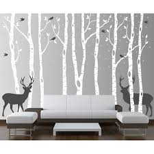 Isabelle Max Birch Tree Forest With Snow Birds And Deer Wall Decal Reviews Wayfair