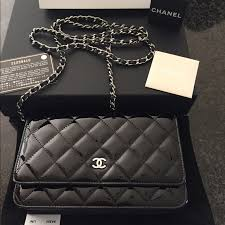 chanel wallet on chain black patent