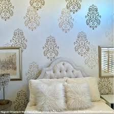 25 Luxurious Ways To Accent A Bedroom Wall Stencil Wall Art Stencils Wall Wall Stencils Diy