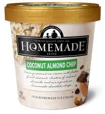 homemade brand coconut almond chip ice