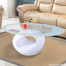 mecor glass coffee table with round