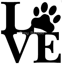 Paw Print Love Outline Dog Paws Cat Wall Art Dog Love
