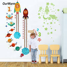 Ourwarm Height Measure Wall Sticker For Kids Rooms Diy Outer Space Planet Height Chart Ruler Wall Decals Baby Nursery Decor Wall Stickers Aliexpress