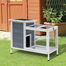 Tucker Murphy Pet Gaviota Wooden Outdoor Rabbit Hutch Elevated Bunny Cage With Enclosed Run Reviews Wayfair