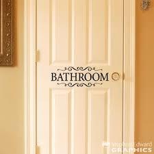 Bathroom Decal Door Sticker Bathroom With Scrolls Wall Decal Bat Stephen Edward Graphics