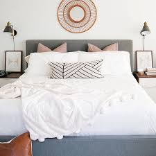 white bedding blush pink euro pillows